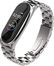Mijobs Replacement Strap Compatible with Xiaomi Mi Band 3, Stainless Steel Replacement Band Metal Bracelet Wristband Accessories for Xiaom Mi Band 4 Strap