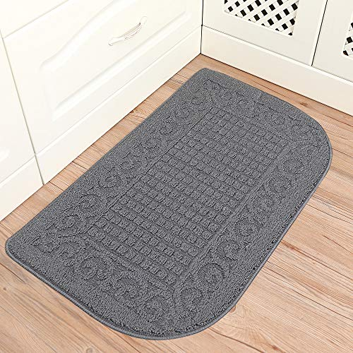 39x20inch Anti Fatigue Kitchen Rug Mats are Made of 100% Polypropylene Half Round Rug Cushion Specialized in Anti Slippery and Machine Washable,Grey