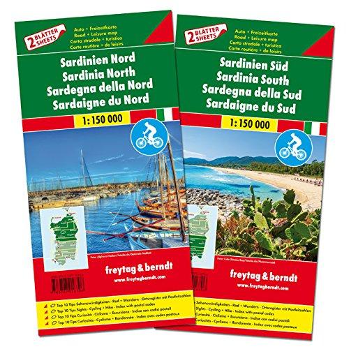 Sardinien Nord und Süd, Autokarten-Set 1:150.000: Top 10 Tips: Top 10 Tips Sehenswürdigkeiten. Rad + Wandern. Ortsregister mit Postleitzahlen (freytag & berndt Auto + Freizeitkarten)