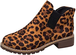 ♫Loosebee♫ Women's Classic Slip-On Ankle Boots Ladies Fashion Leopard Flock Plain Round Toe Short Boots Casual Shoes