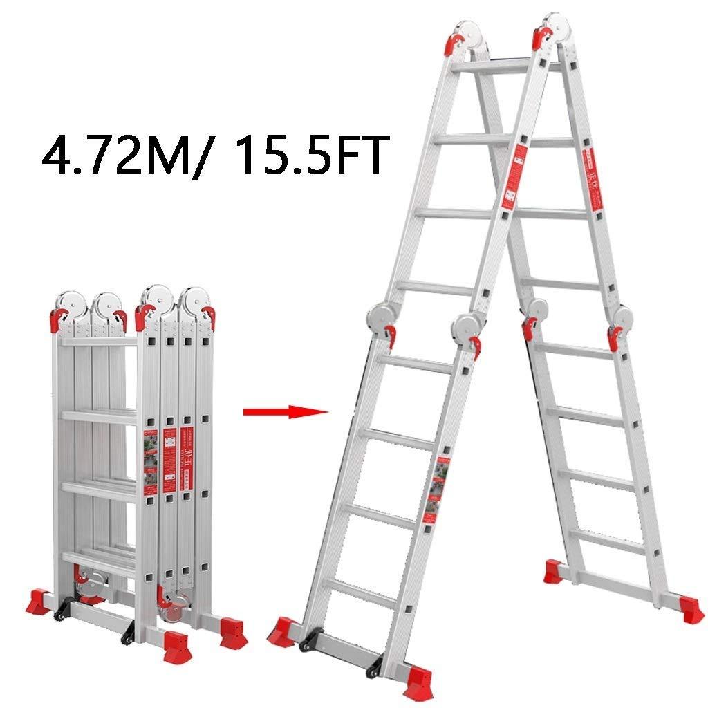 WYNZYYX 4.72m / 15.5ft 4 Peldaños Escaleras Telescópicas Altas, Extensión Telescópica De Aluminio Escalera Plegable Multiusos Tipo Loft: Amazon.es: Hogar
