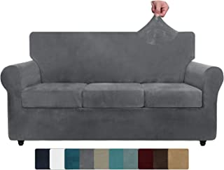 ZNSAYOTX Luxury Velvet Couch Cover 4 Piece Stretch Sofa Covers for 3 Cushion Couch Thick Soft Spandex Sofa Slipcover Livin...