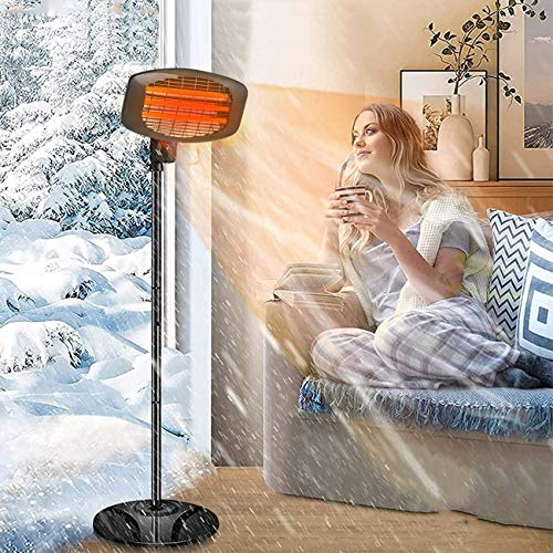 EPROSMIN Electric Outdoor Patio Heater-3 Power Levels Outdoor Heaters for 650/1350W/2000W Infrared Carbon Tube Heater Tip-Over Shut Off Freestanding Space Heaters for Indoor Use,Courtyard, Garage
