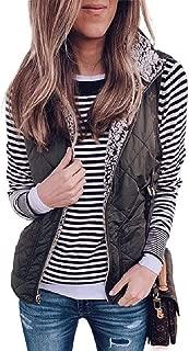 Macondoo Women Winter Zip Waistcoat Reversible Fleece Lapel Jacket Vest