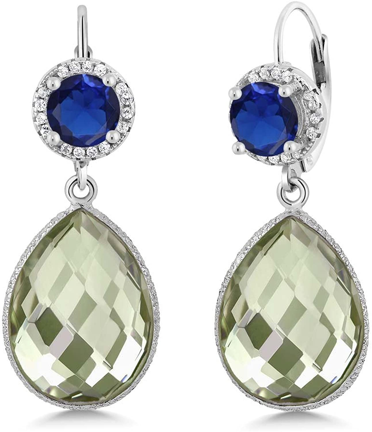 1.50 Ct Round bluee Simulated Sapphire Pear Amethyst 925 Sterling Silver Earrings