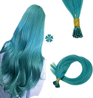Hetto 100% Brazilian Human Hair Fusion Keratin Hair Extensions #Teal Color 20Gram I Tipped Hair Extensions Smooth and Straight Hair 18Inch