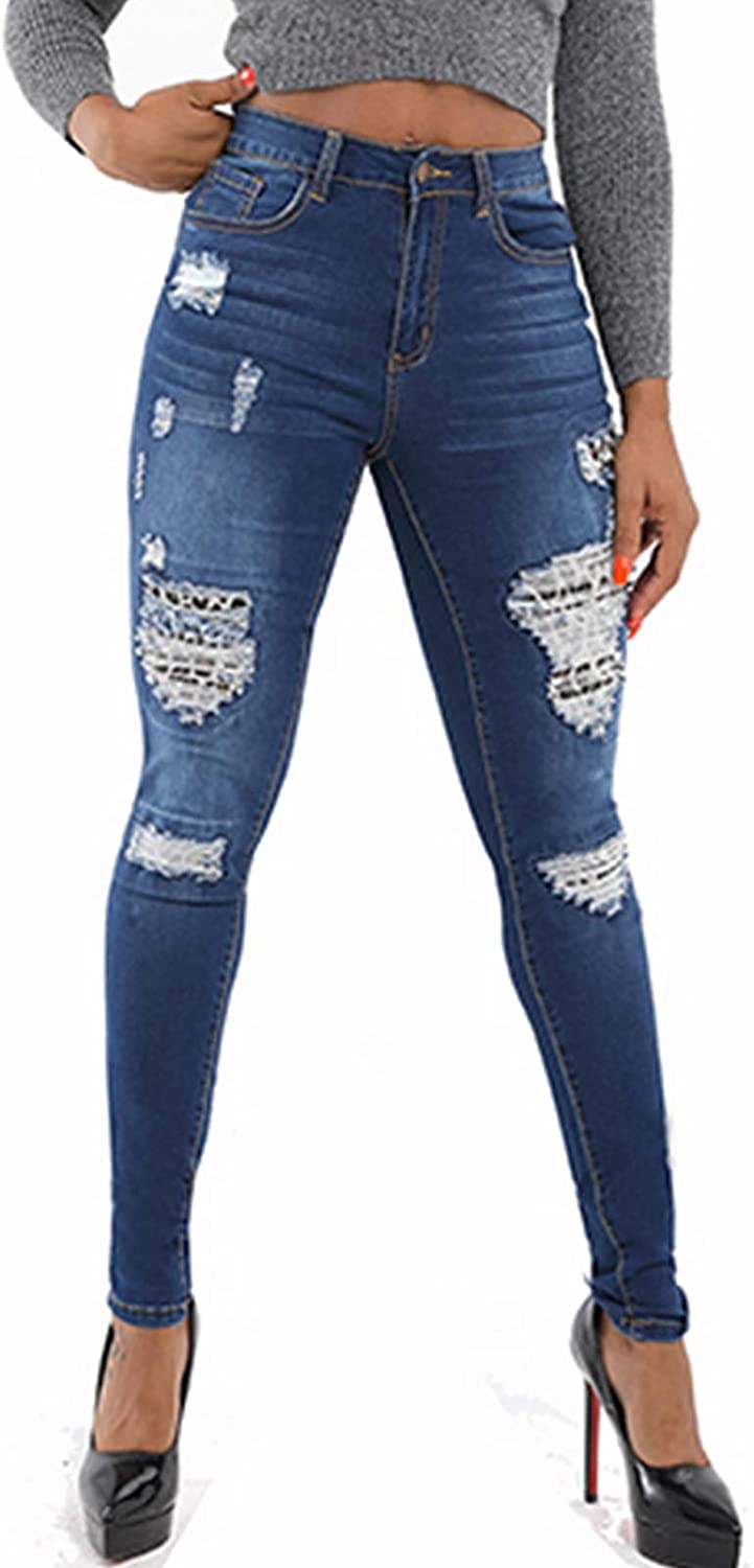 Leopard Skinny Jeans for Women Stretch Ripped Destroyed Jeans Denim Pants Blue 2020 2XL
