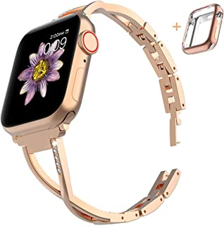 Marge Plus Compatible with Apple Watch Band with Case, Women Bling Wristband for iWatch Series 5 4 3 2 1 Metal Stylish Strap, Champagne Gold