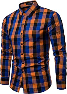 Mens Plaid Button Dress Shirt Checkered Lattice Long Sleeve Slim Fit Tops