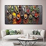 KWzEQ Cartel de Especias de Cocina Que Pinta Alimentos Modernos Impresos en Lienzo para la decoración de la Pared del hogar,Pintura sin Marco,75x150cm