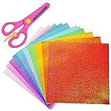 Jooheli Papel Origami, 50 Hojas de Colores Glitter Paper, 10 Colores Origami Hecho a Mano con Tijeras de Seguridad, 25cm * 25cm Papel de Origami Cuadrado para DIY Artesañal Decoracíon y Scrapbooking