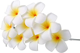 YOUBAMI Hawaiian Plumeria Foam Flowers with Stems Great for Various Festival Luau Party Favor Event Wedding Home Decoration DIY Bouquets by Yourself Set of 18 Pcs (White+Yellow)