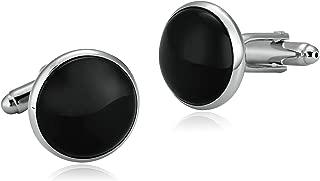 Aooaz Cufflinks for Men Stainless Steel Silver Black Round Pierced Crystal Shirt 1.7X1.7CM Silver Black