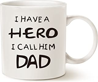 MAUAG Fathers Day Christmas Gifts for Dad Coffee Mug, I Have a Hero I Call Him Dad Funny Best Father's Day and Birthday Gifts for Dad Father Cup, White 11 Oz