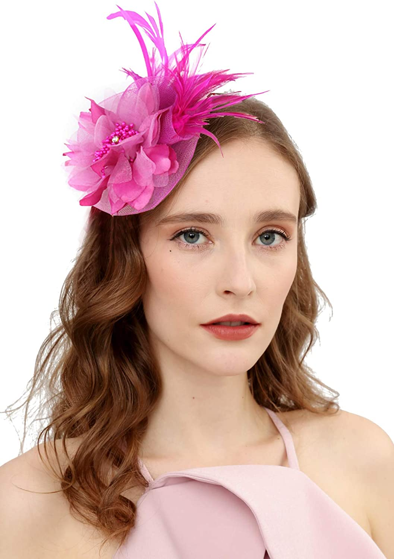 Cizoe Fascinators Hat for Women Tea Party Headband Kentucky Derby Wedding Cocktail Flower Mesh Feathers Hair Clip