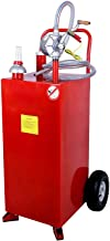 SUNCOO 30 Gallon Portable Gas Tank Diesel Fuel Caddy Storage Containers Pump & Hard Tube, Red