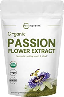 Organic Passion Flower Extract Powder, 8 Ounce, Strongly Supports Stress Relief, Relaxation, Memory, Sleep and Energy, No ...