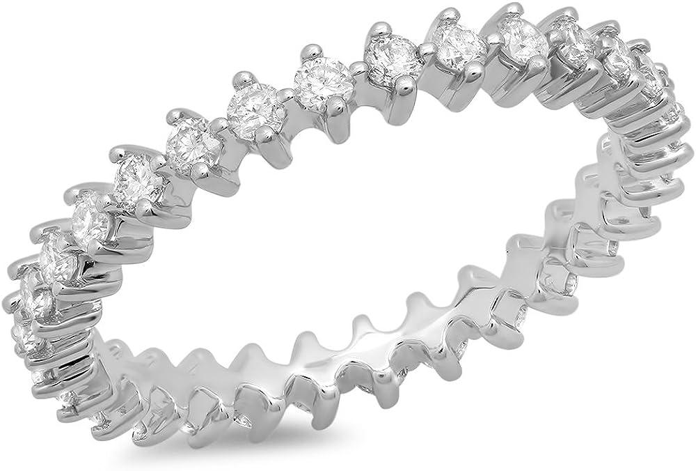 Dazzlingrock Collection 0.75 Carat (ctw) 14K Round Diamond Ladies Eternity Anniversary Open Prong Wedding Band 3/4 CT, White Gold