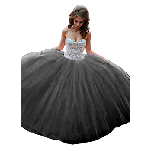 516f5b27a89 Eldecey Women s Sweetheart Crystals Strapless Ball Gown Quinceanera Dress