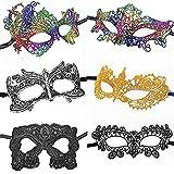 CNYMANY 6 Paquetes de máscaras de Encaje Sexy para Mujer de Estilo Fijo Máscara de Ojos para Disfraces de Disfraces venecianos de Fiesta de Baile