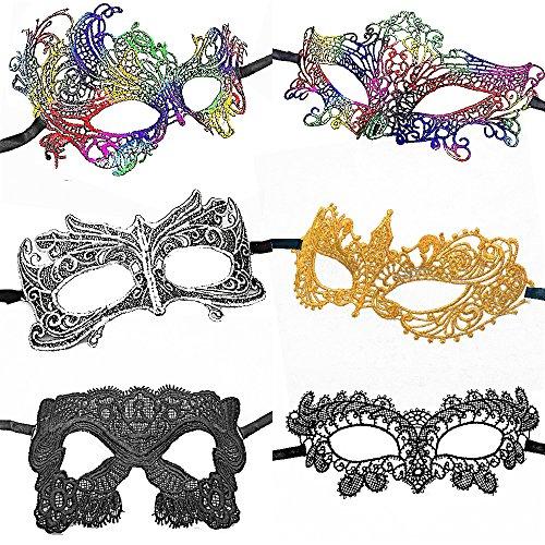 CNYMANY 6 Pezzi Maschere di Pizzo Sexy da Donna di Forma Fissa Messa in Piega Maschera per Gli Occhi per Palla Festa Veneziano Mascherata Costume