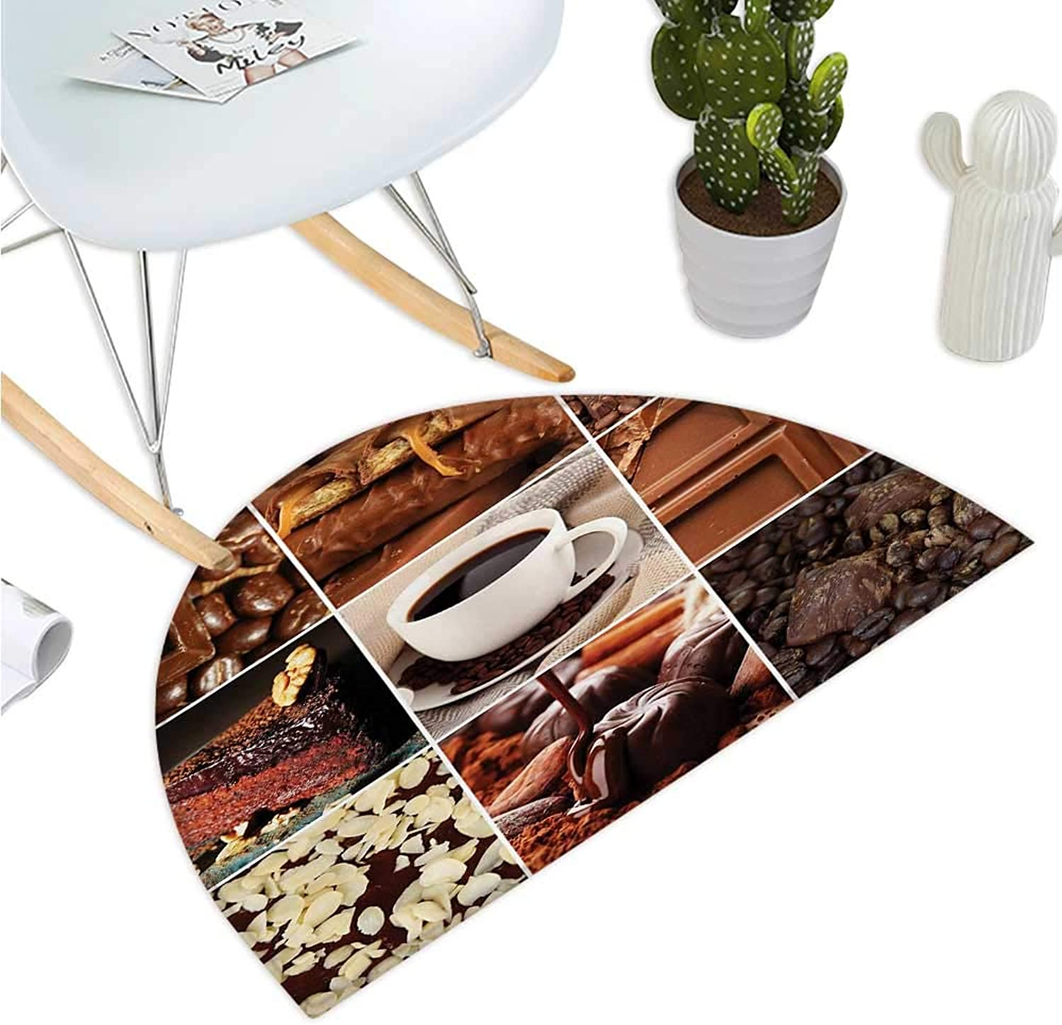 Brown Semicircle Doormat Coffee and Chocolate Tasty Collage Beans Mugs Snacks Pastries Espresso Cocoa Composition Entry Door Mat H 43.3  xD 64.9  Brown