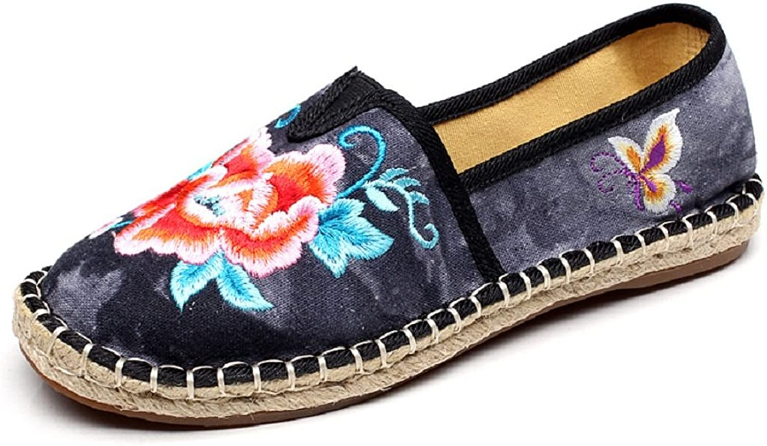 Tianrui Crown Womens Flowers Embroidery Slip-on Loafer Espadrilles shoes