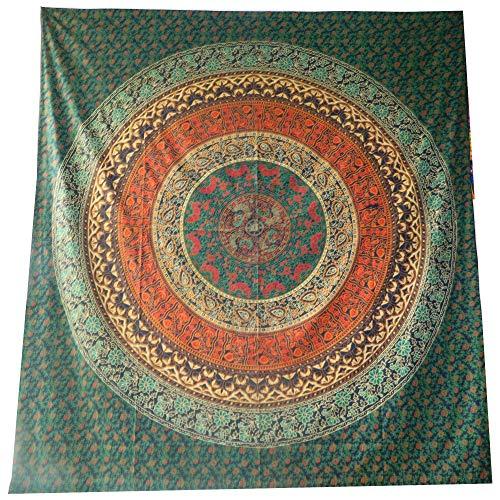 Tagesdecke Mandala Blume blau orange Baumwolle indische Decke Wandbehang Überwurf