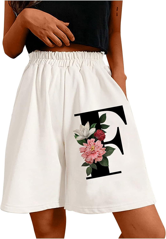 Shorts for Women Casual Summer Fashion Ladies Elastic Waist Loose Running Shorts Pockets Letter Shorts Active Pants #.
