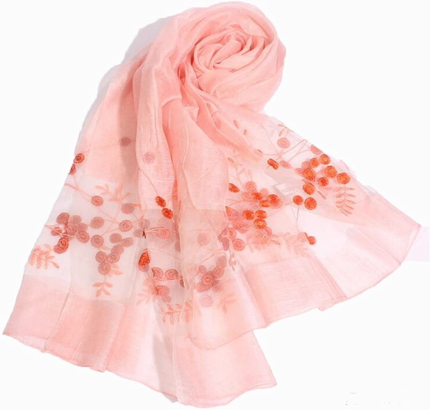 Women's Scarf Light Transparent Embroidered Silk Scarf for Travel Party Wedding Dating Size,35  78 Inch (color   Pink)