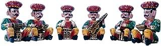 The Hue Cottage Decorative Musician Bawla Set of 6 Pcs Rajasthani Statue Handicraft Figurine Gift Items Indian Home Decor