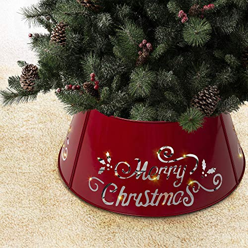 Glitzhome Merry Christmas Diecut Galvanized Metal Tree Collar with Light String for Christmas Decor 26' D, Red