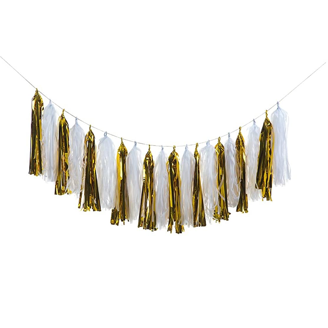ZOOYOO Tissue Paper Tassels, Tassel Garland Banner for Event & Party Supplies, 20 pcs DIY Kits (White/Gold)