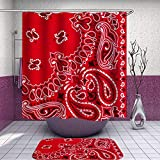 SARA NELL Shower Curtain and Rug Set Various Water Drop Art Patterns Red Bandana Shower Curtain Fabric Waterproof Fabric Bathroom Curtain Set with 12 Hooks - 72 x 72 Inch