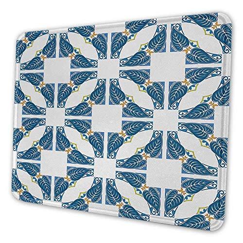 Blaue und weiße benutzerdefinierte Mauspad portugiesisches Pflaster Design Azulejo Mosaik mit diagonalen Quadrat und Formen Inspirierende Mauspad für Frauen Blau Weiß