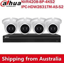 Dahua 4K(8MP) 8CH PoE Home Security Camera System, 8MP Startlight Outdoor PoE IP Cameras with Build in MIC, 4K 8-Channel N...