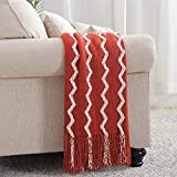 Bourina Fluffy Chenille Knitted Fringe Throw Blanket Lightweight Soft Cozy for Bed Sofa Chair Throw Blankets, 50' x 60' (Rust, 50'x60')