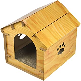 Luckycyc New Simulated Wood Grain Cat House Corrugated Paper Cat Scratch Board Cat Shelter Pet Supplies Appearance Design 3-in1 Function Design DIY Special Cat House Outdoor & Indoor