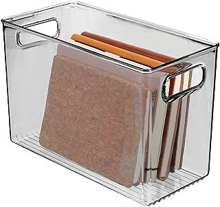 mDesign rangement à poignées – grand panier de rangement transparent au design élégant – bac de rangement en plastique san...