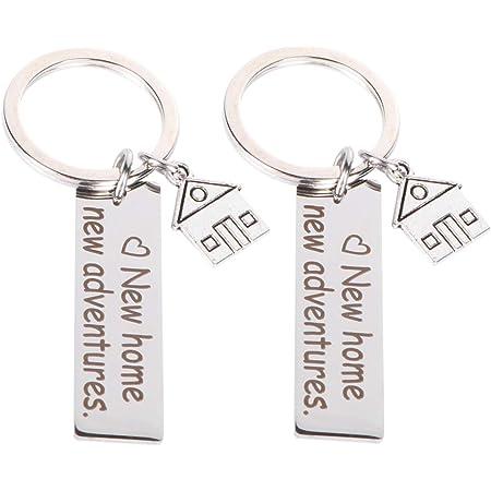 LIOOBO 2 pcs nouvelle maison nouvelles aventures porte-clés se déplaçant dans porte-clés sac cadeau pendaison de pendaison de crémaillère suspendus ornements porte-clés