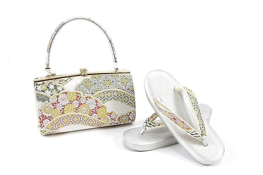 みぞれ夕方これまで紗織謹製 草履バッグセット レディース銀×金×緑×ピンク 草履23.5cm ゴールド シルバー