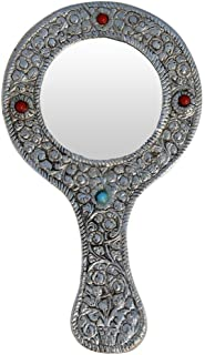 Oxidized White Silver Metal Round Vanity Pocket or Hand Mirror Handicraft for Home Decor Gift Item