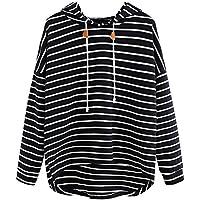 VJGOAL Mujer otoño Plus Size Moda Raya con Bolsillos Casual Sweatshirt Manga Larga Crop Jumper Pullover Tops (Negro, L)