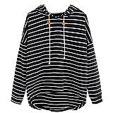 VJGOAL Mujer otoño Plus Size Moda Raya con Bolsillos Casual Sweatshirt Manga Larga Crop Jumper Pullover Tops (Negro, M)