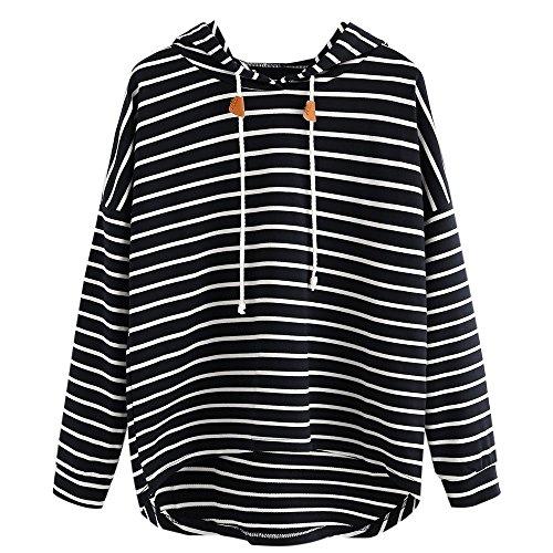VJGOAL Mujer otoño Plus Size Moda Raya con Bolsillos Casual Sweatshirt Manga Larga Crop Jumper Pullover Tops (Negro, S)