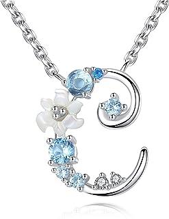 Gemshadow iniziale collana in argento Sterling 925con zirconi lettera regali personalizzati per ragazze