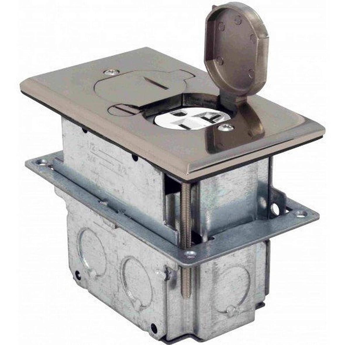 ジャンクション割り込み取り囲むOrbit Industries FLB-D-SS フロアフリップタイプ 2連コンセントカバー&調節可能なボックス付き 不正使用防止 ステンレススチール