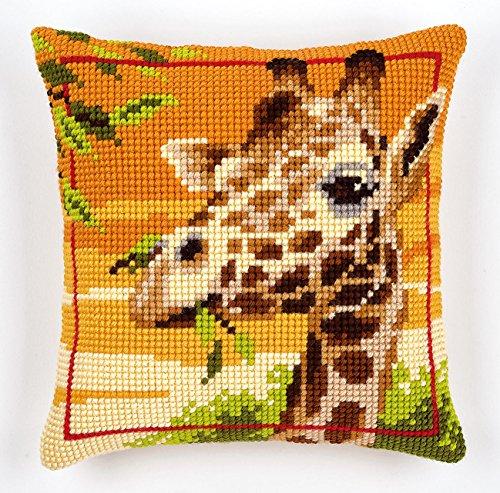 Vervaco Giraffe Kreuzstichkissen/Stickkissen vorgedruckt, Baumwolle, Mehrfarbig, 40 x 40 x 0.3 cm
