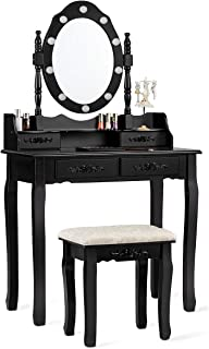 CHARMAID Vanity Set with 10 LED Lights and 4 Drawers, Storage Shelf, Detachable Top, Bedroom Bathroom Dressing Makeup Tabl...