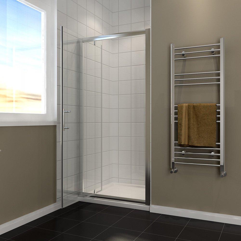 Pivot - Mampara de cristal para puerta con bandeja de ducha y ...
